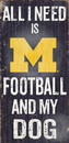 Michigan Wolverines Wood Sign - Football and Dog 6