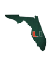 Miami Hurricanes Sign Wood Logo State Design