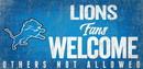 Detroit Lions Wood Sign Fans Welcome 12x6