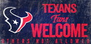 Houston Texans Wood Sign Fans Welcome 12x6