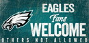 Philadelphia Eagles Wood Sign Fans Welcome 12x6