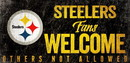 Pittsburgh Steelers Wood Sign Fans Welcome 12x6