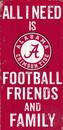 Alabama Crimson Tide Sign Wood 6x12 Football Friends and Family Design Color