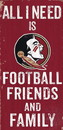 Florida State Seminoles Sign Wood 6x12 Football Friends and Family Design Color - Special Order