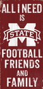 Mississippi State Bulldogs Sign Wood 6x12 Football Friends and Family Design Color