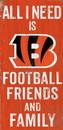 Cincinnati Bengals Sign Wood 6x12 Football Friends and Family Design Color