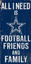 Dallas Cowboys Sign Wood 6x12 Football Friends and Family Design Color Special Order