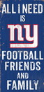 New York Giants Sign Wood 6x12 Football Friends and Family Design Color Special Order