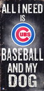Fan Creations Sign Wood 6x12 Baseball and Dog Design