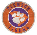 Clemson Tigers Sign Wood 12 Inch Round State Design