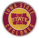 Iowa State Cyclones Sign Wood 12 Inch Round State Design