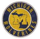 Michigan Wolverines Sign Wood 12 Inch Round State Design