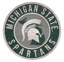 Michigan State Spartans Sign Wood 12 Inch Round State Design