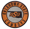 Oklahoma State Cowboys Sign Wood 12 Inch Round State Design Special Order