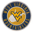West Virginia Mountaineers Sign Wood 12 Inch Round State Design