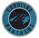 Carolina Panthers Sign Wood 12 Inch Round State Design