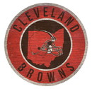 Cleveland Browns Sign Wood 12 Inch Round State Design