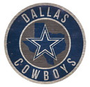 Dallas Cowboys Sign Wood 12 Inch Round State Design