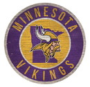 Minnesota Vikings Sign Wood 12 Inch Round State Design
