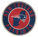 New England Patriots Sign Wood 12 Inch Round State Design