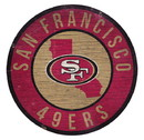 San Francisco 49ers Sign Wood 12 Inch Round State Design
