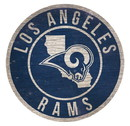 Los Angeles Rams Sign Wood 12 Inch Round State Design
