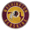 Washington Redskins Sign Wood 12 Inch Round State Design