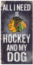Fan Creations Sign Wood 6x12 Hockey and Dog Design