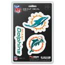 Miami Dolphins Decal Die Cut Team 3 Pack