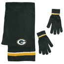 Green Bay Packers Scarf and Glove Gift Set Chenille