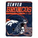 Denver Broncos Blanket 46x60 Raschel 40 Yard Dash Design Rolled