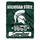 Michigan State Spartans Blanket 46x60 Raschel Vasity Design Rolled