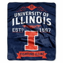Illinois Fighting Illini Blanket 50x60 Raschel Label Design