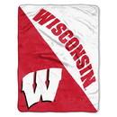 Wisconsin Badgers Blanket 46x60 Micro Raschel Halftone Design Rolled