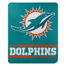 Miami Dolphins Blanket 50x60 Fleece Split Wide Design