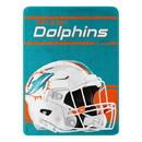 Miami Dolphins Blanket 46x60 Micro Raschel Run Design Rolled