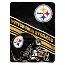 Pittsburgh Steelers Blanket 60x80 Raschel Slant Design