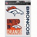 Denver Broncos Decal Multi Use Fan 3 Pack