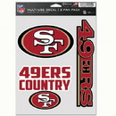 San Francisco 49ers Decal Multi Use Fan 3 Pack