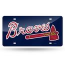 Atlanta Braves Laser Cut Navy License Plate