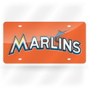 Miami Marlins License Plate Laser Cut Light Orange Special Order