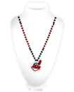 Cleveland Indians Mardi Gras Beads with Medallion