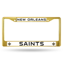 New Orleans Saints Metal License Plate Frame - Gold