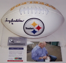 Creative Sports Terry Bradshaw Autographed Hand Signed Pittsburgh Steelers Logo Football - PSA/DNA