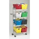Charnstrom B161 Mail Room and Office Carts Medium Four Shelf Mobile Mail Distribution Cart - Totes Not Included
