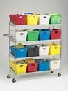 Charnstrom B162 Extra Long, Four Shelf Mobile 16 Bin Cart