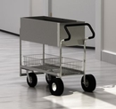 Charnstrom B257E Long Solid Metal Mail Cart with Easy Push Handle