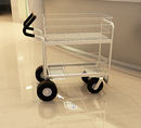 Charnstrom B262E Medium Wire Basket Mail Cart with Easy Push Handle and Caster Options