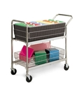 Charnstrom M201 Medium Wire Basket Cart with 4 Swivel Casters