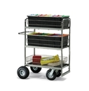 Charnstrom M273 Triple-Decker Wire Basket Mail Cart With 3 Choices of Casters and Tires